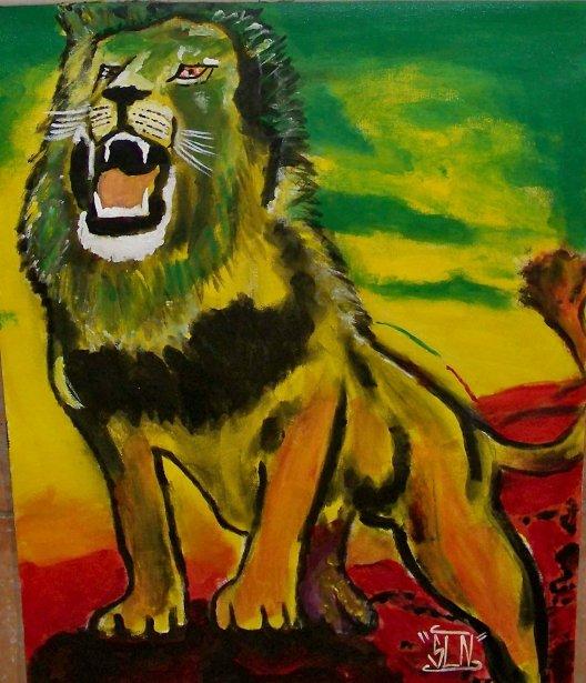 LION fait a la Peinture. Janvier 2010.