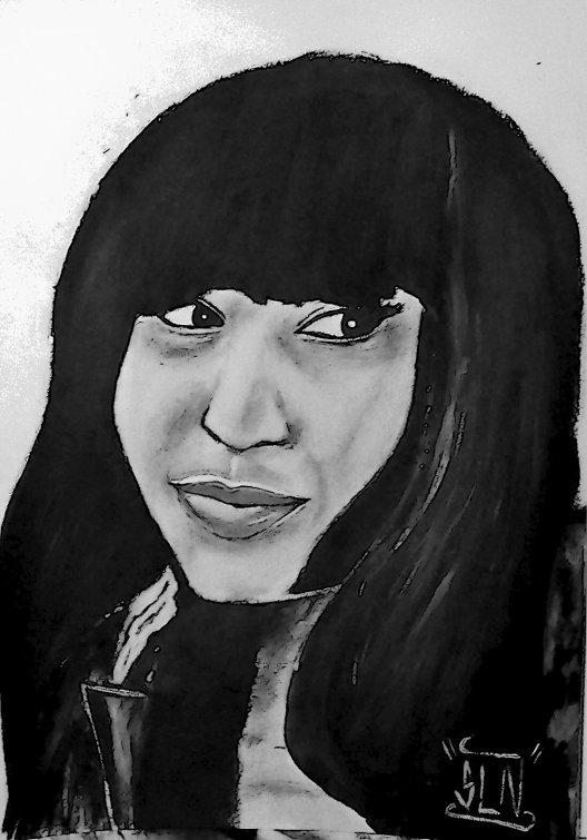 NICKI MINAJ fait a la Peinture. Janvier 2011. Artiste Hip Hop US.