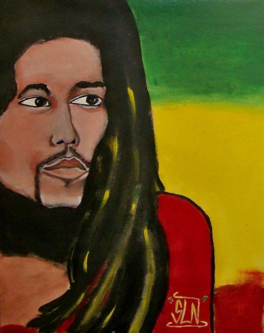 BOB MARLEY fait a la peinture. Fevrier 2011. LEGEND