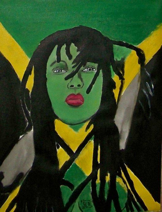 JAMAICAN GIRL fait a la Peinture. Février 2011.