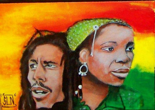 BOB & RITA MARLEY fait a la peinture. Fevrier 2011.