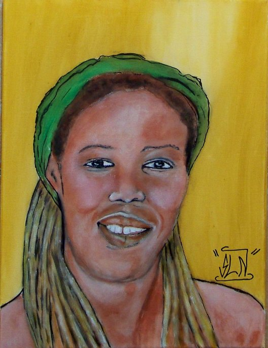 QUEEN IFRICA fait a la Peinture. Mars 2011. Artiste Reggae JA