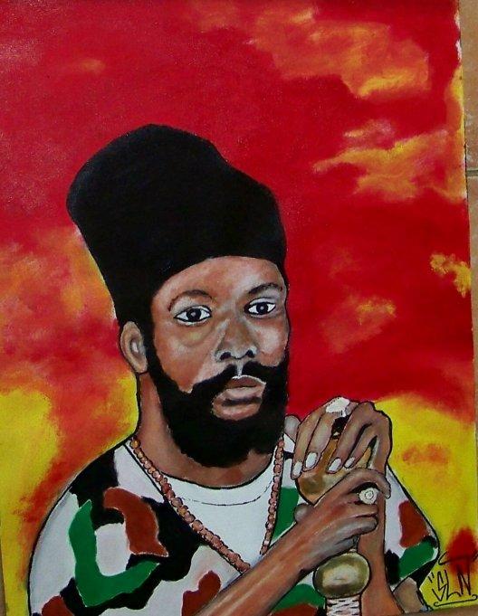 CAPLETON fait a la peinture. Avril 2011. Artiste Reggae/Dancehall JA