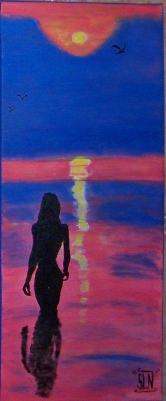 Toile WOMAN on SEA fait a la peinture.Mai 2011.