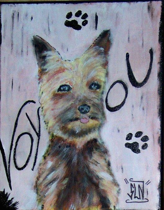 Toile CHIEN(Voyou) fait a la peinture. Mai 2011. Sur Commande