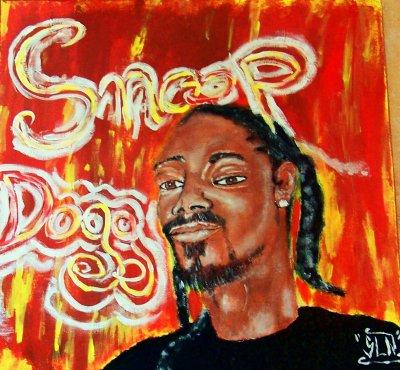 Toile SNOOP DOGG fait a la peinture.Juillet 2011.Artiste Hip Hop US