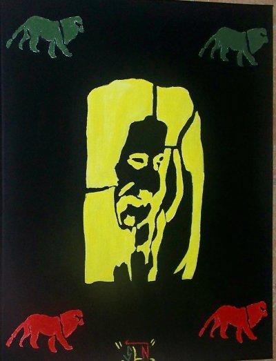 BOB MARLEY fait a la peinture. Aout 2011. LEGEND