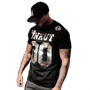 Unkut Tee Shirt Unkut Double Zero Noir Typo Argent