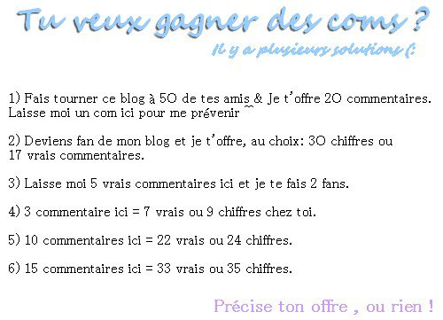 Occasions: commentaires/ chiffre/ kiffs.