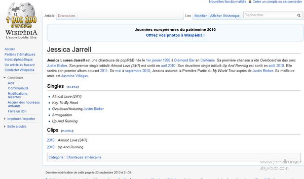 Jessica Jarrell - WIKIPEDIA.FR ! :D Elle n'a pas encore de page wikipédia en Anglais mais déjà une en Français! Comme quoi elle compte beaucoup de fans en France !  Si je vois ça sur ton blog c'est du plagiat ! Sachant que la page est en ligne depuis 7 jours!