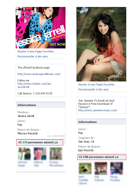 Jessica a plus de Fans qui Jasmine sur Facebook ! :)  Jessica has more fans than Jasmine on Facebook! :)