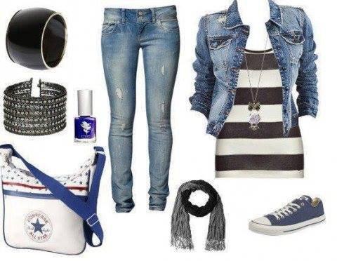 Look blanc et bleu ^^