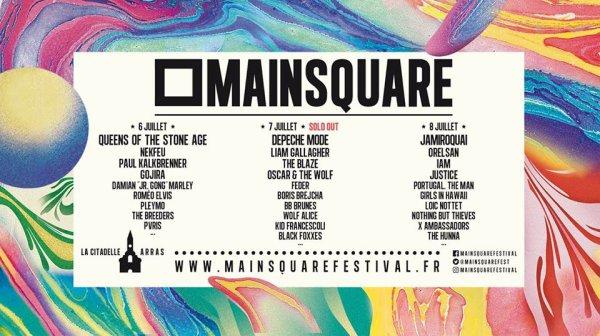 Main Square Festival Arras les 6, 7 et 8 juillet 2018