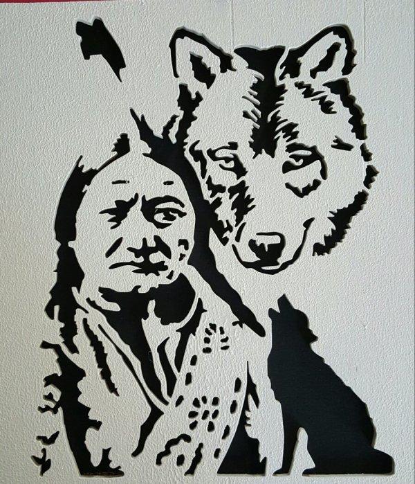 portrait indien et loup decoupe en bois blog de bidules. Black Bedroom Furniture Sets. Home Design Ideas