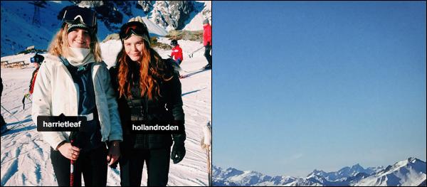 - 30/12//2016: Holl Roden s'est une fois de plus rendue à la montagne pour finir l'année en beauté. Plus : Holland à l'air de passer un bon moment dans la neige, je suis super contente de la voir souriante. Elle pose à côté d'une fan ! - -