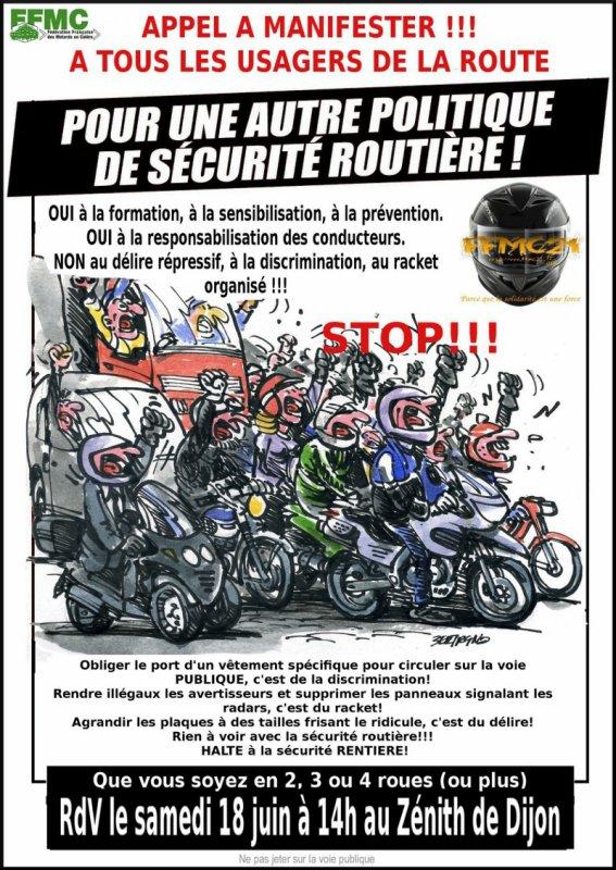 Appel du 18 juin 2011 de la FFMC a tout les usger de la route voiture moto camion