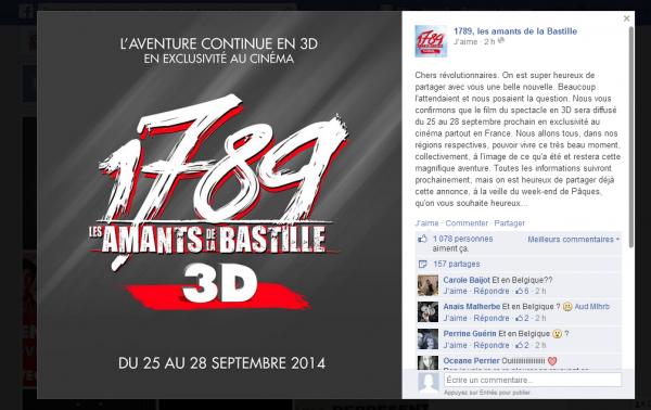 1789 les amants de la Bastille au cinéma en 3D