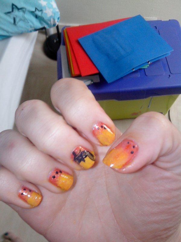 Orange avec dégrader jaune et paillettée