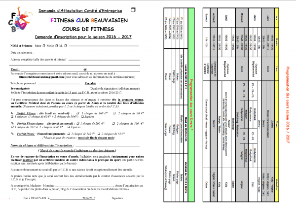 DOSSIER D'INSCRIPTION 2016/2017