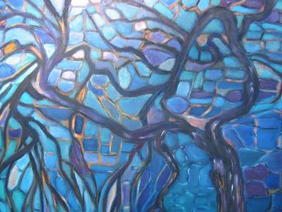 A la mani re de mondrian un arbre en cama eu de bleu - Camaieu de bleu peinture ...