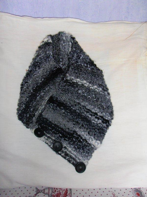 snood ,une première ,pour moi !le,tricot