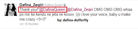 Braaaaahhhh !!! I am So HAPPPPPYY !!!!! Dafina Ne Twitter Ma Ka Kthy Ni Tweet Yuuuppiiii Qe Sa Jam Tu e Prit graaww <3<3 SHE IS MY EVERYTHING IN MY LIFE <3<3 :)))
