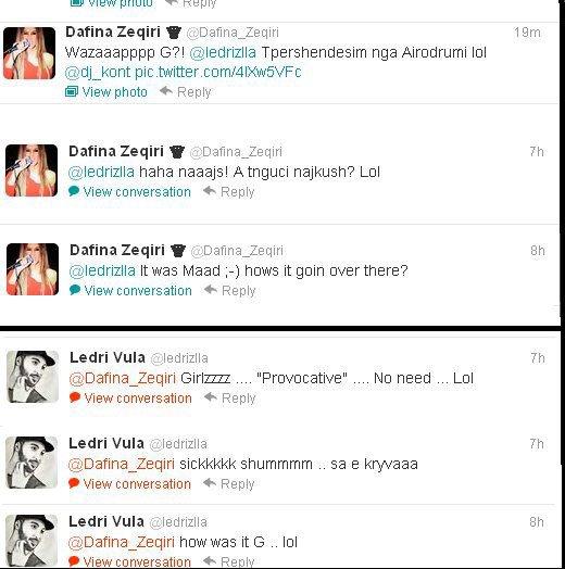 Biseda e Dafines dhe e Ledrit ne Twitter :D
