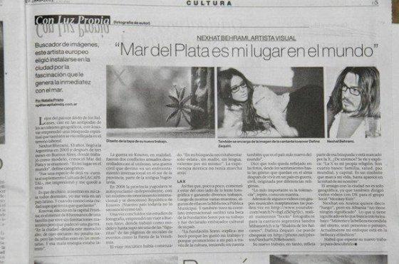 """Dafina Zeqiri dhe fotografi Kosovar,Nexhat Behrami pjesë e gazetës Argjentinase """"La Capital""""."""