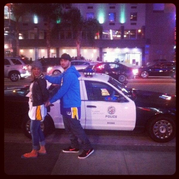 Lakers game made me go Crazy so Ledri Vula decided to arrest me! Lol!