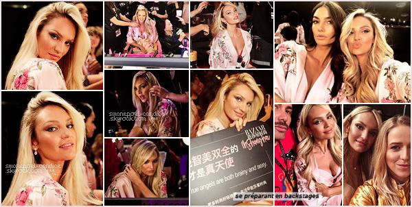 """20/11/17 ─ Comme prévue Candice Swanepoel a défilé lors du """"Victoria's secret fashion show"""" a Shanghai.  Candice ouvre le défilé en défilant pour """"Punk Angels"""" (collab avec Balmain) puis elle a défilé dans le segment  """"Nomadic Angel"""" . Top!"""