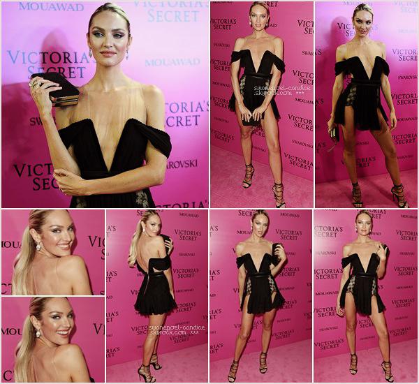 20/11/17 ─ Juste après le VSFS, jolie Candice a posé sur le traditionnel tapis rose pour l'after-Party du show.  Candice est très en beauté dans sa robe noir transparente. C'est un joli top pour Candi qui termine cette grosse journée avec le sourire!