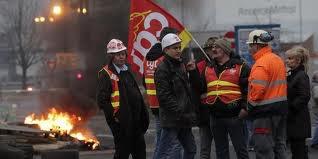 Les salariés d'ArcelorMittal manifestent à Florange