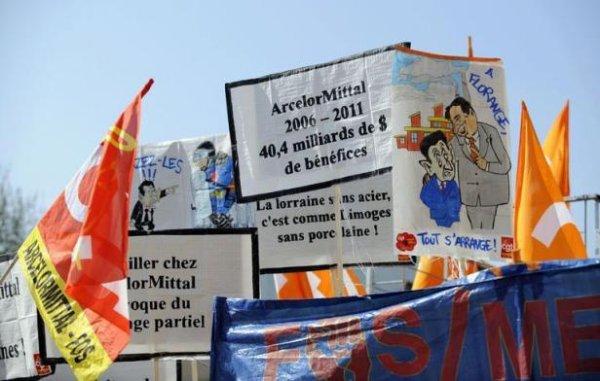"""""""Défense de l'industrie"""": manifestation européenne des ArcelorMittal à Florange"""