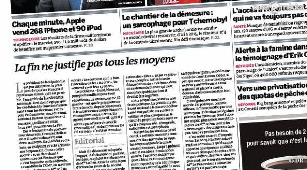 Éditorial assassin du Monde après les déclarations de Nicolas Sarkozy sur Marine Le Pen