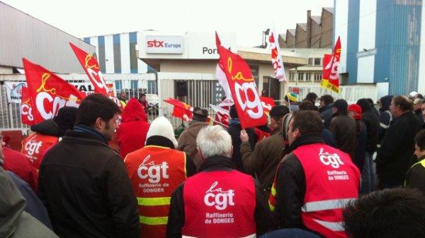 Saint-Nazaire : 150 manifestants CGT devant STX