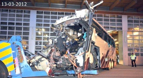13 mars 2012 - Belgique - Flandres - Accident d'un autocar belge sur l' A9 dans le Tunnel de Sierre - La FBAA compte lancer une enquête en Suisse, en Belgique à Aarschot