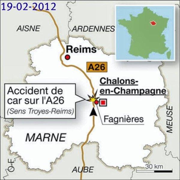 19-02-2012 - France - England - Un autocar Britanique se renverse sur l'autoroute A26 - Champagne-ardenne -1 mort, 6 graves et 24 blessés dans cet accident.