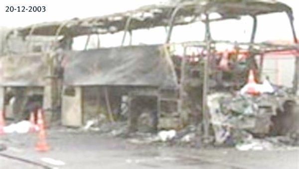 20-12-2003 - Belgique - Hensies - Grave accident d'un autocar allemand 11 décédés, blessés graves, suite au choc, le car a pris feu sur la E19.