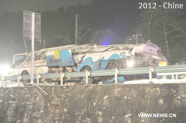 04-01-2012 - Chine - Au moins 16 morts après la chute d'un autocar depuis le pont de Guiding - Route Lanzhon - Haikou