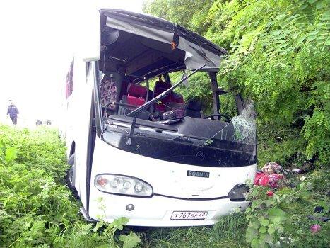 07-07-2012 - Un autocar Russe sort de la route en Ukraine - 14 pèlerins tués et 29 blessés dans l'accident.