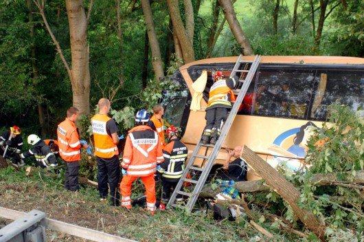 19-08-2012 - Belgique - Soumagne - Un autocar tchèque quitte l'autoroute de Liège E40 - E42 à Blégny ( Cerexhe-Heuseux) et se fracasse dans les arbres - Un mort et un blessé grave.