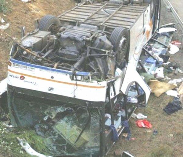 22-06-2004 - France - Poitiers (Vienne) Liguge sur la N 10 - Un autocar de la société Compagnie de Car Abdelsam Kebbor effectuant la ligne Bruxelles Maroc perd le contrôle, sort de la route et part en tonneaux sur la N10 direction Poitiers Bordeaux avec 49 passagers. -11 personnes décédées et 40 blessés.