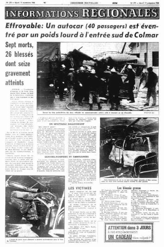 19-11-1968 - Colmar - Catastrophe C'était en 1968 - Le terrible accident d'autocar à l'entrée sud de Colmar
