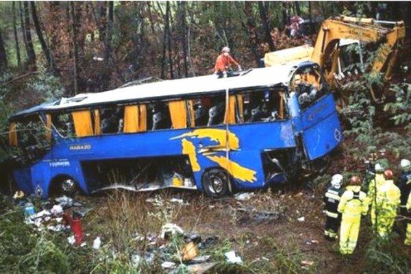27-01-2013 - Portugal - L'autocar immatriculé en Espagne transportait un groupe d'excursion de 43 personnes entre Portalegre – dans le centre- vers Santa Maria da Feira
