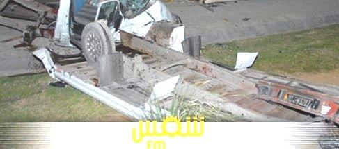 02-05-2013 - Tunisie - Accident Autocar - Le car se renverse - un mort et 9 blessés à  M'hamdia.