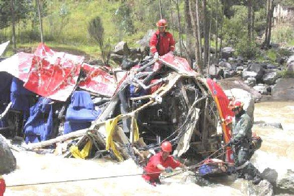14-04-2013 - Pérou - Accident Grave autocar - Au moins 33 personnes ont été tuées et dix blessées, lors de la chute de 200 mètres au fond d'un ravin