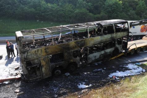 30-06-2013 - Sprimont - Belgique - SPRIMONT - Un autocar venu des Flandres (Tongerlo) avec 70 adolescents à bord partait en Espagne - Des flammes se sont échappées de son moteur alors que l'autocar roulait sur l'E 25, direction Luxembourg