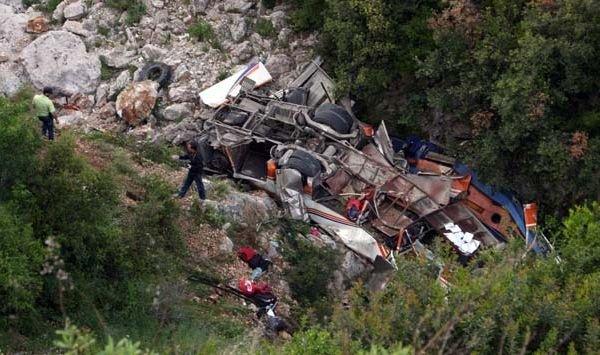 22-05-2012 - Albanie - Accident d'un Autocar - Il sort de la route, culbute et tombe dans un ravin - 12 étudiantes tuées et 21 blessées