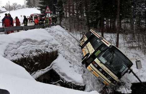 10-03-2009 - Allemagne - Accident d'un Autocar Belge à Bonndorf en Allemagne, près de la frontière Suisse - 25 enfants blessés.