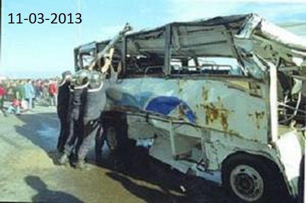 11-03-2013 - Algérie - Accident autocar - Dérapage d'un car survenu sur la RN-3 reliant Illizi à Ouargla, au niveau de la région de Hassi Belagbour (commune de Bordj Omar Driss).